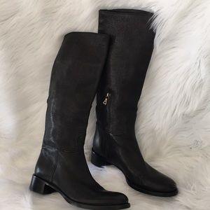 Prada Black Tall Italian Leather Boots Size 37